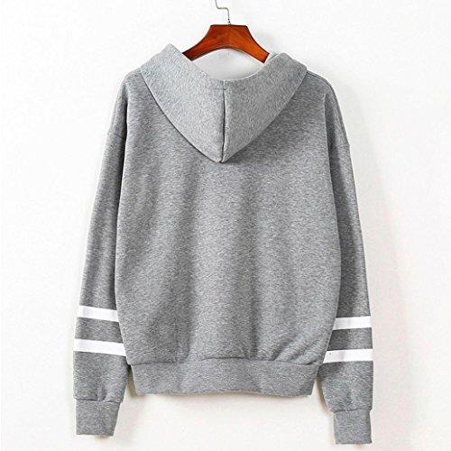 Pull à Capuche OHQ Rayure Molleton à Manches Longues Womens Long Sleeve Hoodie Sweat-Shirt à Capuche Pull à Capuche Tops Blouse (XL, Gris)