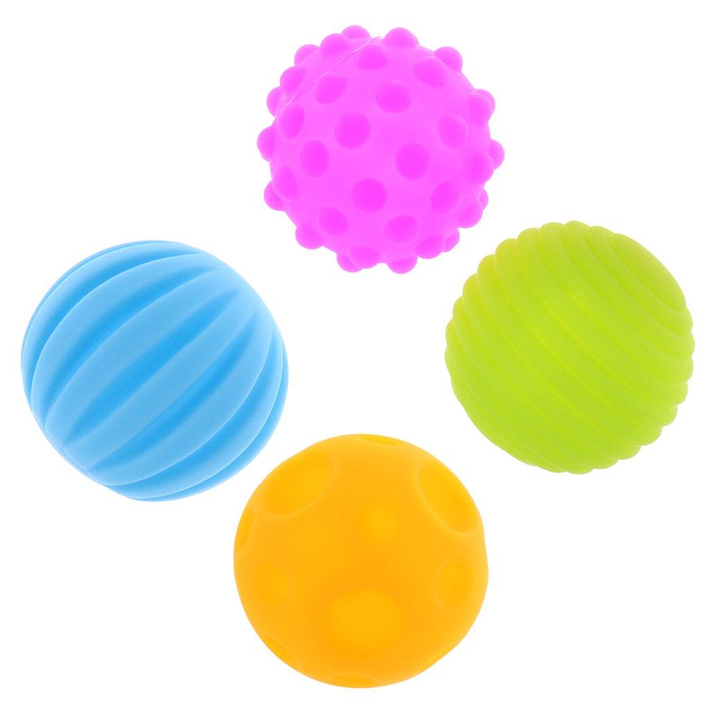 MagiDeal 4/6pcs Sensory Ball Regenbogen - Bio Motorikspielzeug - Gummiball aus ABA Kunststoff - BPA-frei - 4 Stü ck, 23 * 20.5 * 7cm