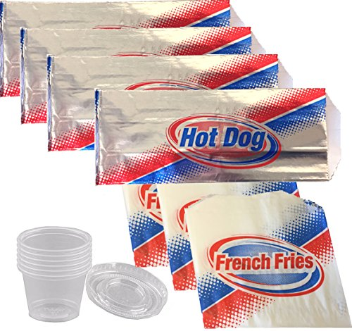 French Fries Ketchup (French Fries & Hot Dog Foil Wrap Bags & 25 French Fry bag with Ketchup Dipping Cup containers and lids picnic party fun pack sandwich wraps)
