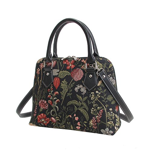Shoulder Tapestry in Poppy Women Sunflower MGDBK Top Garden Flower Cross Handbag Bag Dragonfly Black Signare CONV Bag Body Butterfly Handle with wAqXnT6Ad
