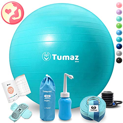 Tumaz Birth Ball or Exercise Ball -The Birth Ball Set Includes Birthing Ball Peri Bottle Yoga Strap Instruction Poster, The Perfect All-in-One Gift for Moms, Both Products Come with a Quick Foot Pump
