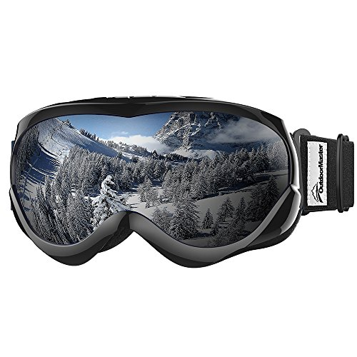 OutdoorMaster Kids Ski Goggles - Helmet Compatible Snow Goggles for Boys & Girls with 100% UV Protection (Black Frame + VLT 10% Grey Lens with REVO Silver) ()