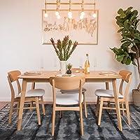 Lucille Light Beige Fabric/ Natural Oak Finish 60 Rectangular 5 Piece Dining Set