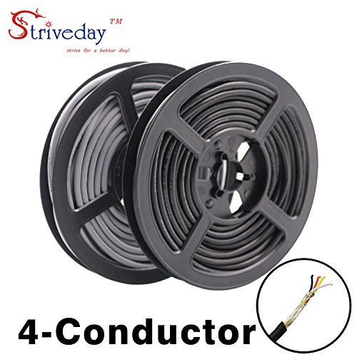 Striveday 2547 28 AWG 5 Meter Black 4-core Control Cable Copper Wire Shielded Audio Cable Headphone Cable Signal Line