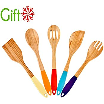 Silicone Handles Kitchen Bamboo Spoons Cooking Utensils, 5 Set of Bamboo Spatula Kitchen Tools By VCCUCINE