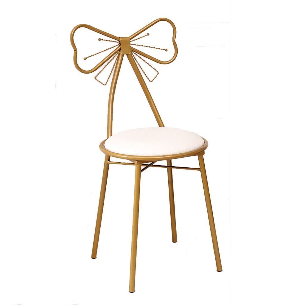 XIAOZHUZHU Klädbordsstol, flicka sovrum sminkstol metall fritidsstol dekorativa möbler kreativ rosett stol hem ryggstöd stol järn matstol, rosa Vitt