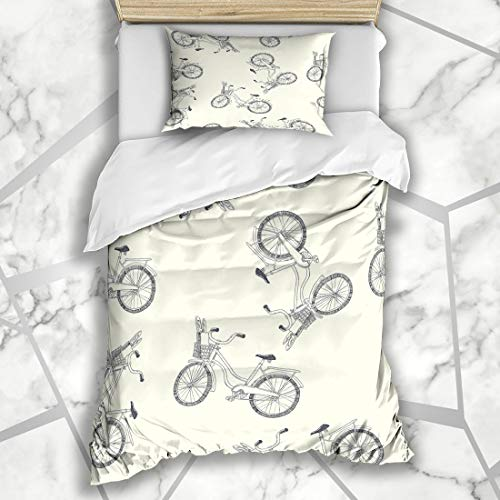 Ahawoso Duvet Cover Sets Twin 68X86 Loaf Bicycle Bike Basket Pattern Hand Retro Vintage Doodle Abstract Baguette Bread Breakfast Microfiber Bedding with 1 Pillow Shams