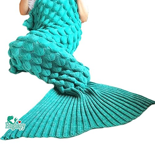Hughapy knitted Mermaid Tail Blanket for Adults Teens,Kids Scale Crochet Snuggle Mermaid,All Seasons Sleeping Bag Blanket (71