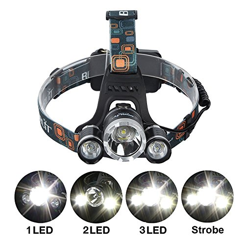 M&T TECH 5000 Lumens 3 CREE XML T6 LED Headlamp Headlight 4 Modes Waterproof Flashlights Torch for Camping Hiking Finishing Riding Biking Running,2X18650 Rechargeable batteries with USB Cable/Car Charger