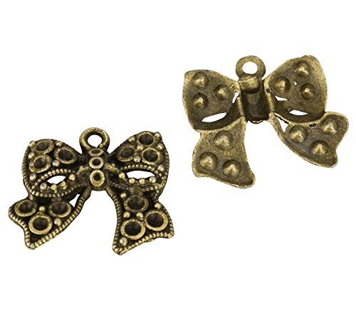 10 x Ribbon Knot Charms 25x20mm Antique Bronze Tone for Bracelets Necklaces Earrings -