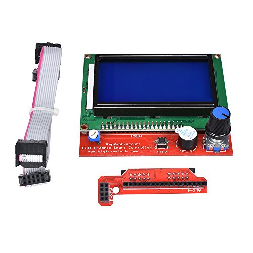 KINGPRINT 12864 LCD Graphic Smart Display Controller Board with Adapter and Cable for 3D Printer Ramps 1.4 RepRap 3D Printer Mendel Prusa Arduino by KINGPRINT