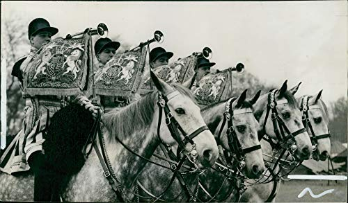 Ceremonial Trumpets - Vintage photo of Queen Eizabeth II:coronation fanfare mounted trumpets of the househods cavalry in ceremonial dress.
