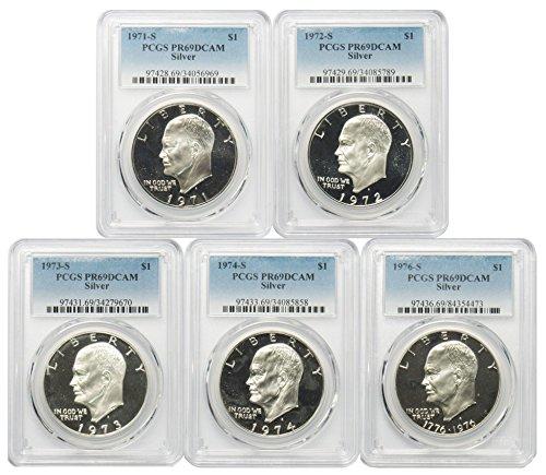 1971-1976 S Silver Eisenhower Ike Dollar $1 PR69DCAM PCGS 5 Coin Set
