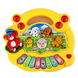 Iusun Baby Kids Animal Farm Musical Piano Toy Children Education and Learning Toys Instrument (Yellow)