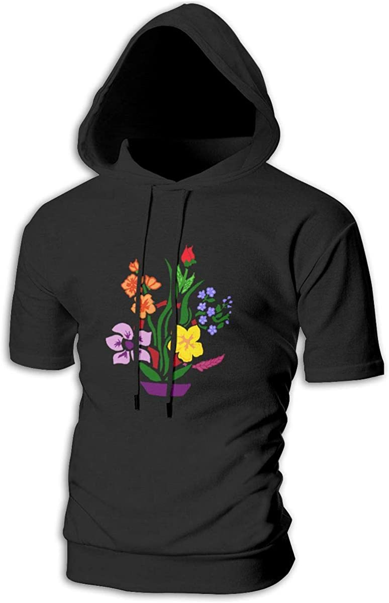 TRYOMWO Young Mens Short Sleeve Hoodie Colorful Floral Casual Pullover Sweatshirt Top Hooded Shirt