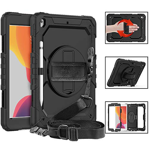 STLDM Case for iPad 10.2 2019,iPad 7th Generation,Full Body Heavy Duty Cover Case with Built-in Screen Protector,Rotating Stand,Hand Strap and Shoulder Strap for iPad 10.2 inch 2019 Black
