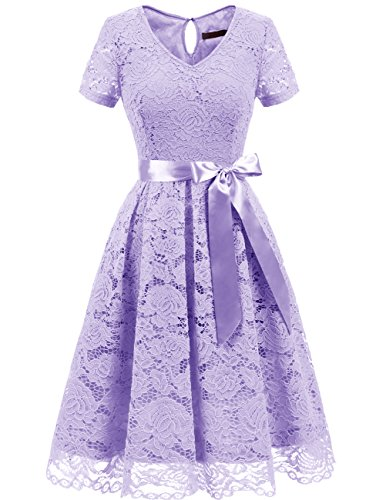 DRESSTELLS Women's Elegant Bridesmaid Dress Floral Lace Dresses with Short Sleeves Lavender 3XL