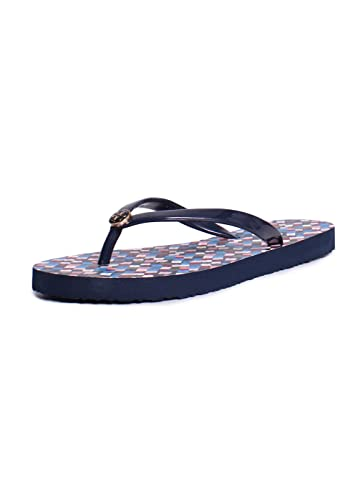 Tory Burch Thin Printed PVC Flip Flop Sandals in Tory Navy Prism 5