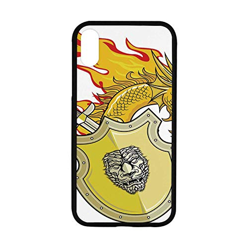 Dragon Rubber Phone Case,Legendary Creature with Royal Shield Sword Hero Knight Medieval Print Compatible with iPhone XR