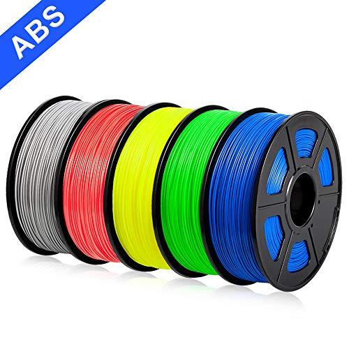 SUNLU ABS Filament 1.75mm 3D Printer 3D Pens 5x1KG PLA+ Filament +/- 0.02 mm, Silver+Red+Yellow+Blue+Green