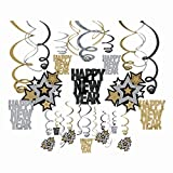 Amscan Rocking New Year Party Hanging Swirl Decorations , Black/Gold/Silver, Foil , Pack of 30 Party Supplies