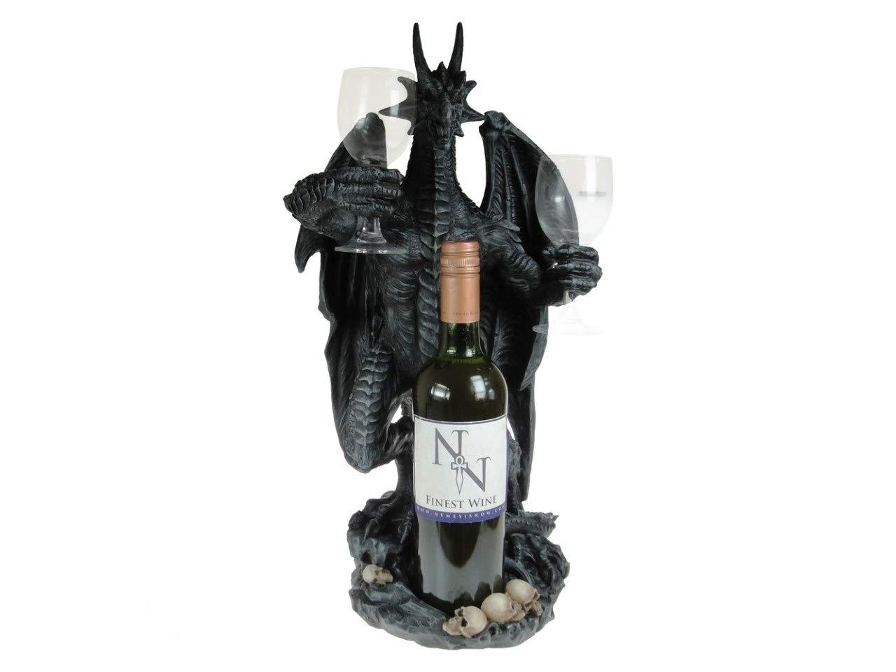 Deko Figur Figuren-Shop.de Drachen Butler f/ür Flasche und Gl/äser