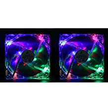 HDE 120mm Quiet Case Fan Twin Pack with Multicolor LED Lights for Desktop PC
