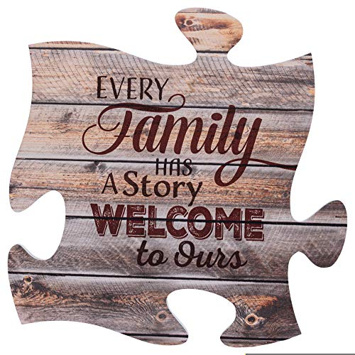 P. Graham Dunn Every Family Has a Story 12 x 12 inch Wood Puzzle Piece Wall Sign Plaque (Plaques Wall Family)