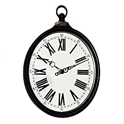 Silent Wall Clock dustproof Glass Cover 8-inch American Country Retro Old Imitation Wrought Iron Oval Ring Wall Clock Clock Living Room Bedroom Quartz Clock, intuitive Digital Display
