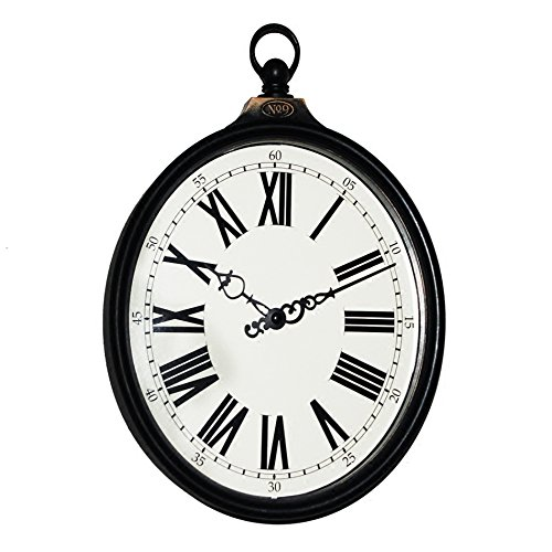 American Clock Retro Vintage - Silent Wall Clock dustproof Glass Cover 8-inch American Country Retro Old Imitation Wrought Iron Oval Ring Wall Clock Clock Living Room Bedroom Quartz Clock, intuitive Digital Display