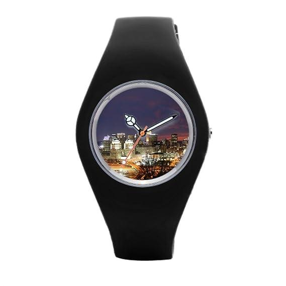 timetoshine deporte reloj de pulsera, Bandas de reloj Cincinnati Skyline tiendas: Amazon.es: Relojes
