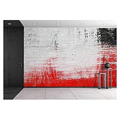 Stroke of a Brush with White Black and Red Paint on a Dusty Metal Fence Textured Abstract Background Close Up, Made to Last, Dazzling Design