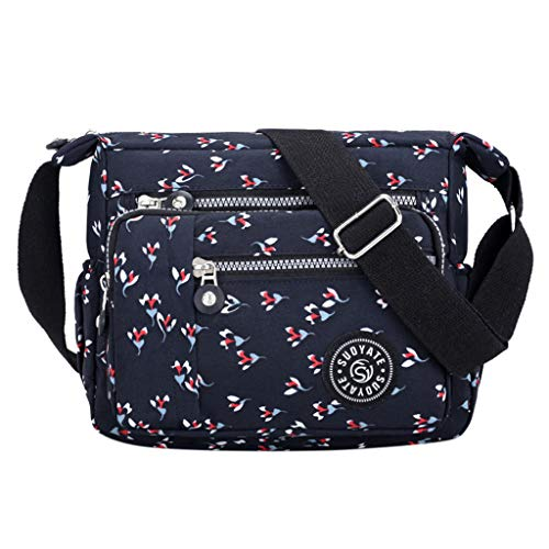 ONLY TOP Crossbody Bag for Women, Multi-Pocketed Nylon Shoulder Bag Purse Travel Passport Bag Messenger Bag Dark Blue
