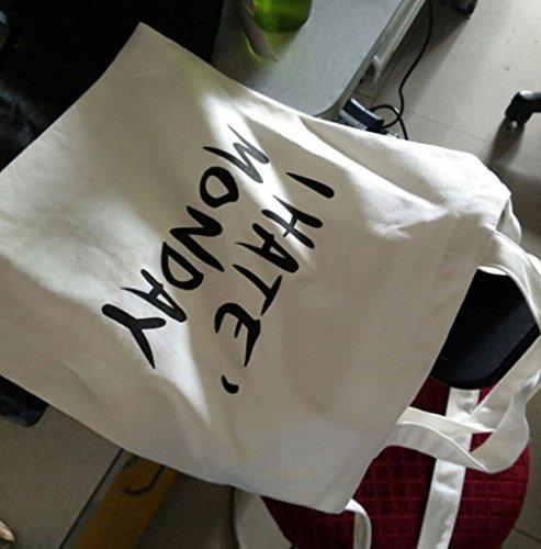 Natur Baumwolltasche Canvas Damentasche Einkaufstasche Stoffbeutel Shopper Weiß Monday ZFtztDq
