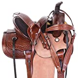 AceRugs Youth Western Horse Saddles Kids SEAT Quarter Ranch Roping Trail Rough Out Leather TACK Set Contoured Skirt
