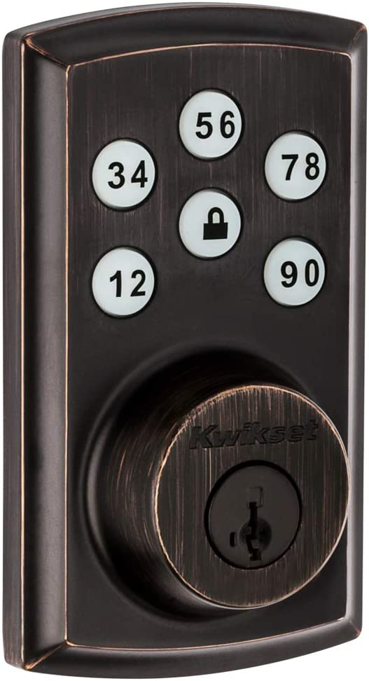 Kwikset 98880-005 SmartCode 888 Smart Lock Touchpad Electronic Deadbolt Door Lock with Z-Wave Plus Featuring SmartKey Security in Venetian Bronze