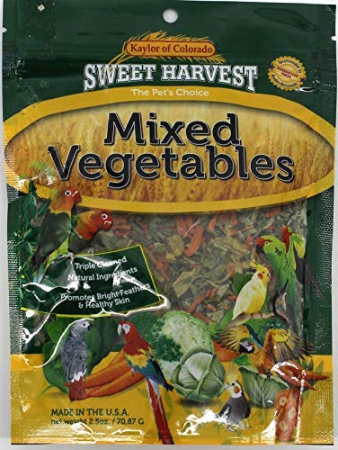 Sweet Harvest Mixed Vegetables Treat, 2.5 Oz Bag - Real Vegetables for Birds - Cockatiels, Parakeets, Parrots, Macaws, Conures ()