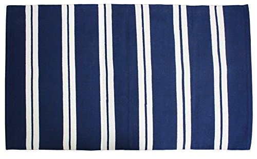Cotton Fashion Reversible Indoor/Outdoor Cabana Stripe Woven Area Rag Rug, 30x48