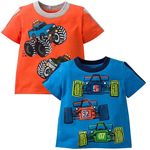 Gerber Graduates Baby Toddler Boys' 2 Pack Short Sleeve Top, Truck/Car, (Truck Applique T-shirt)