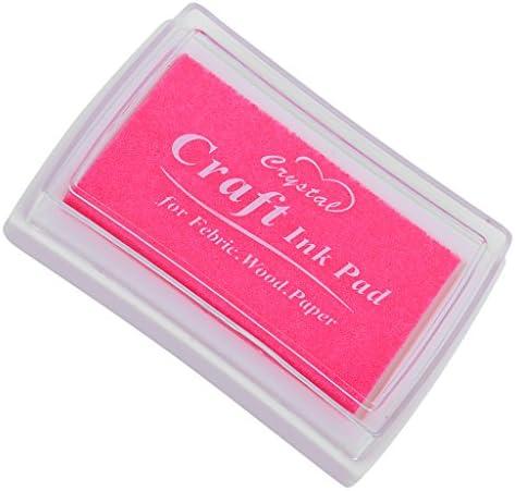全15色 インクパッド 印肉 カード作り ギフト 油性 インク スタンプ 台 年賀状 お祝い 結婚式 - ピンク