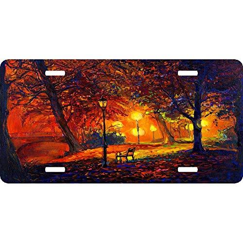 RAEDGEC Autumn Splendor Night Light Bench Custom License Plates Personalized Aluminum for US Canada Cars, Metal Auto Tag Sign for Women/Men, 12 x 6 Inch ()
