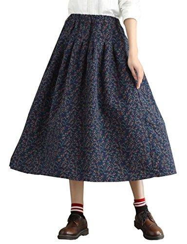Yimoon Women's Retro Floral Print Loose Pockets Cotton Skirt Elastic Waist Pleated Midi Swing Skirt (Navy, One Size)