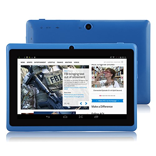 "IRULU X1a 7"" Tablet - A33 Cortex-A7 1.5GHZ Quad Core System, Android 4.4 OS, 1024600 Resolution with 5 Point Capacitive Touch, Dual Camera(Front 0.3MP/ Rear 2.0MP),512MB-RAM/8GB-ROM (Blue)"