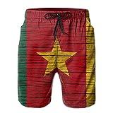 HFSST Africa Wooden Texture Cameroonian Flag Men Kid Male Summer Swimming Pockets Trunks Beachwear Asual Shorts Pants Mesh