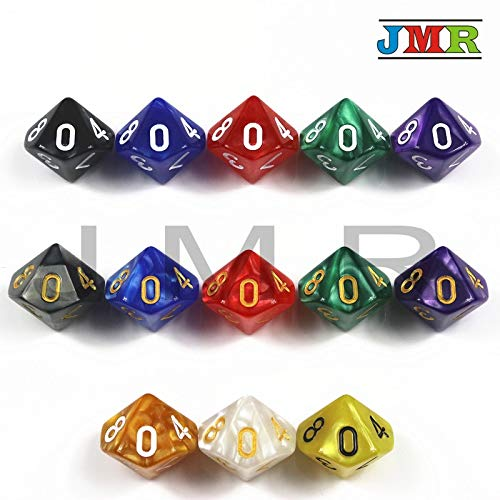 - BIG-DEAL 10PCS TRPG Pearlized Effect D10 Dice for Dungeons & Dragons 10 Sided Games Dices Colorful Desktop Game,Playing Game- White Gold Ink