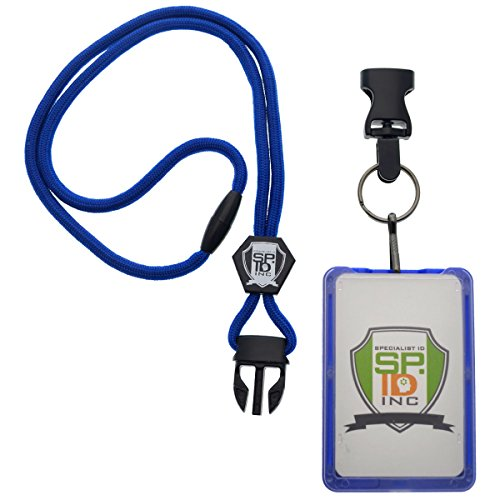 Top Loading THREE ID Card Badge Holder with Heavy Duty Lanyard w/ Detachable Metal Clip and Key Ring by Specialist ID, Sold Individually (One Holder / 3 Cards Inside) (Royal Blue) Photo #3