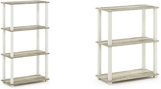 Furinno Turn-S-Tube 4-Tier Multipurpose Shelf Display Rack, Square, Sonoma Oak/White & Turn-S-Tube 3-Tier Compact Multipurpose Shelf Display Rack, Square, Sonoma Oak/White