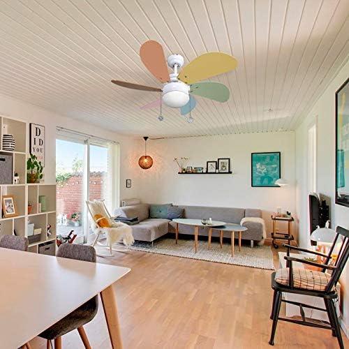 AkunaDecor. 003 Ventilador de techo con luz colores pastel 77 cm. 1xE27