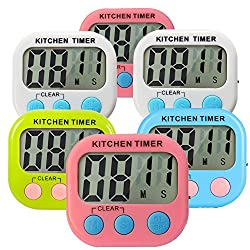 Great Polly 6 Packs Digital Kitchen Timer Cooking Timers Clock with Alarm Magnetic Back and Stand, Minute Second Count Up Countdown, Large LCD Display (6 PACKS)