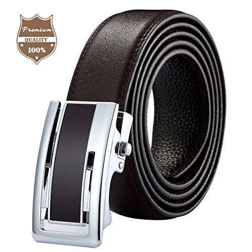 [Zaitun Men's Leather Ratchet Dress Belt with Automatic Slide Holeless Buckle Gift Box (Brown)] (Changeable Buckle)